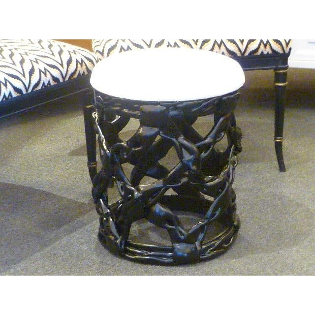 1970s Ribbon Stool Black Resin and White Vynil Seat For Sale - Image 4 of 8
