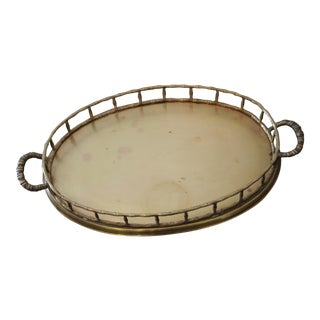 Oval Brass Faux Bamboo Serving Tray For Sale