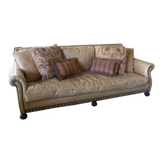 1990s Ralph Lauren Chesterfield Leather Sofa With Rivets - Camel Color For Sale
