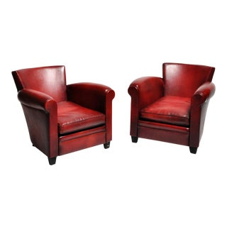 Red Leather French Club Chairs - a Pair For Sale