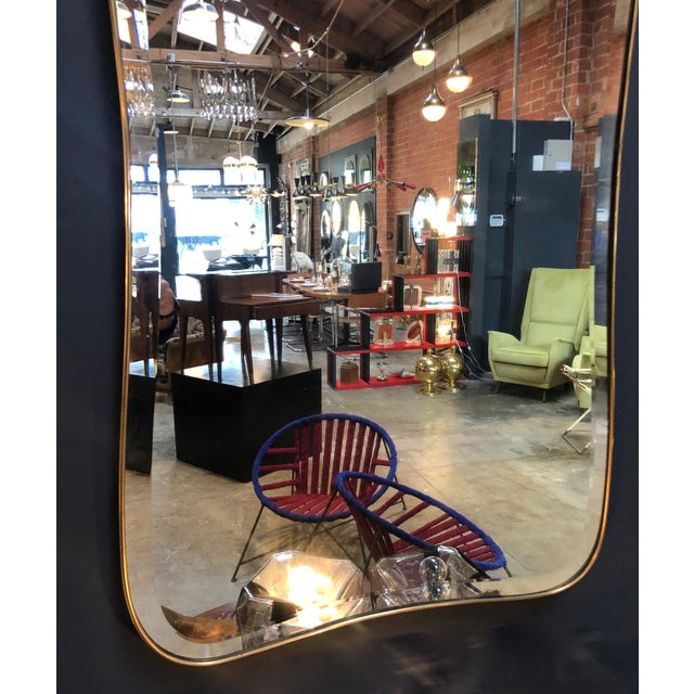 Brass Giant Midcentury Italian Molded Wall Mirror, 1950s For Sale - Image 7 of 8
