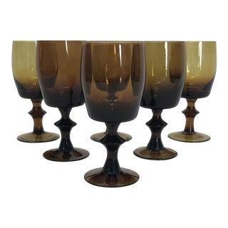 1960s Amber Stem Glasses - Set of 6