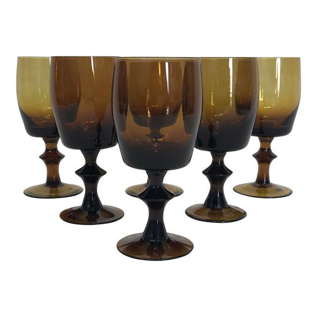 1960s Amber Stem Glasses - Set of 6 - Image 1 of 8