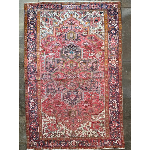 "1940s Persian Heriz Rug 11' 10"" X 7'4"" For Sale - Image 9 of 9"