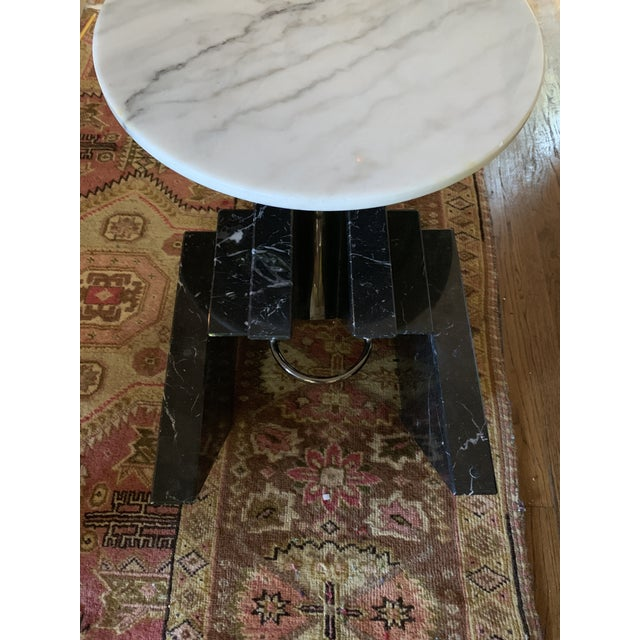 1980s Modern Stacked Marble Table With Rotating Top For Sale In Dallas - Image 6 of 10