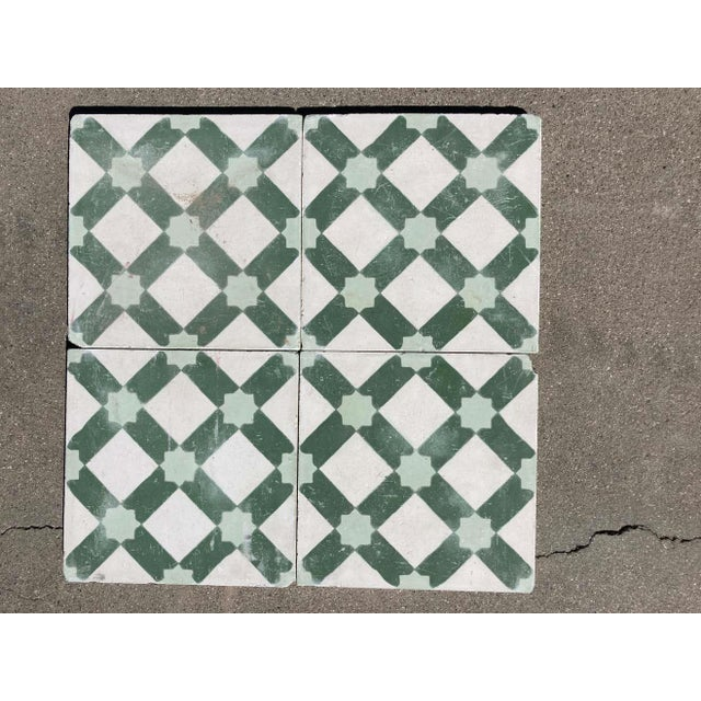 Moroccan handcrafted and hand painted cement tile with traditional Green Moorish design. These are authentic Moroccan...