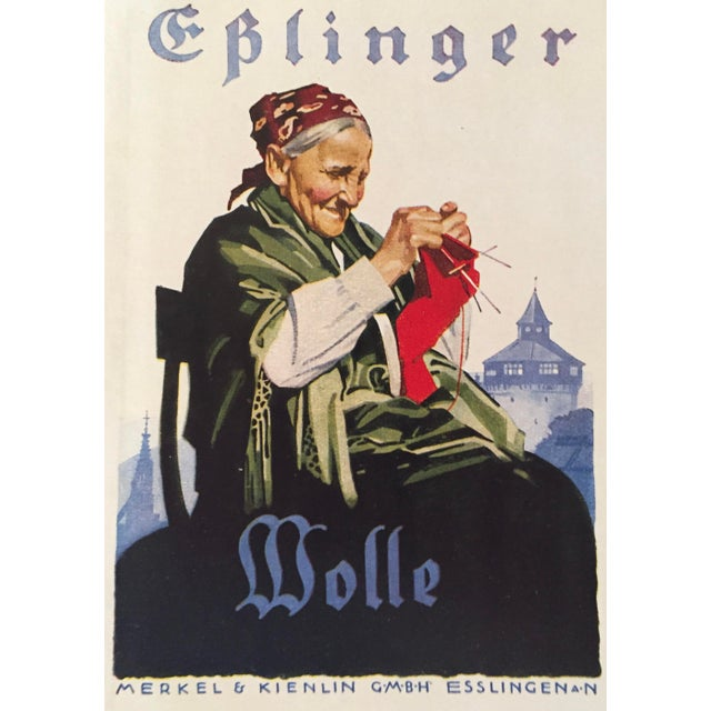 1927 German Art Deco Mini Poster, Eplinger Wool For Sale - Image 4 of 5