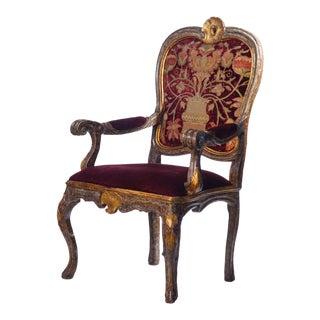 18th C. Italian Giltwood and Painted Arm Chair For Sale
