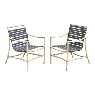 Faux Bamboo Chinese Chippendale Aluminum Vinyl Strap Patio Arm Chairs - a Pair For Sale