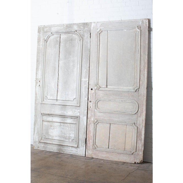 Rustic Pair of 19th Century French Painted Panel Doors For Sale - Image 12 of 13