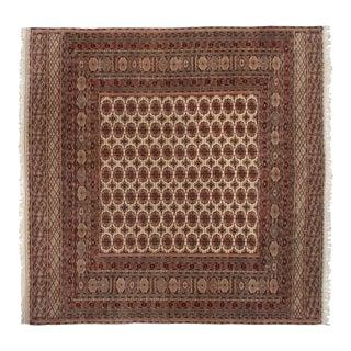 "Vintage Fine Pakistani Bokhara Design Square Carpet - 12'4"" X 12'5"" For Sale"