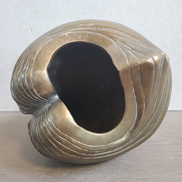 Brass Large Brass Clam Sea Shell Sculpture & Planter For Sale - Image 8 of 9