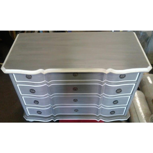 French Provincial New Serena & Lily Antique Gray Dresser With Serpentine Front For Sale - Image 3 of 5