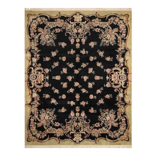 "William Morris Pak-Persian Aubusson Black Green Wool Rug - 7'11"" x 10'4"""