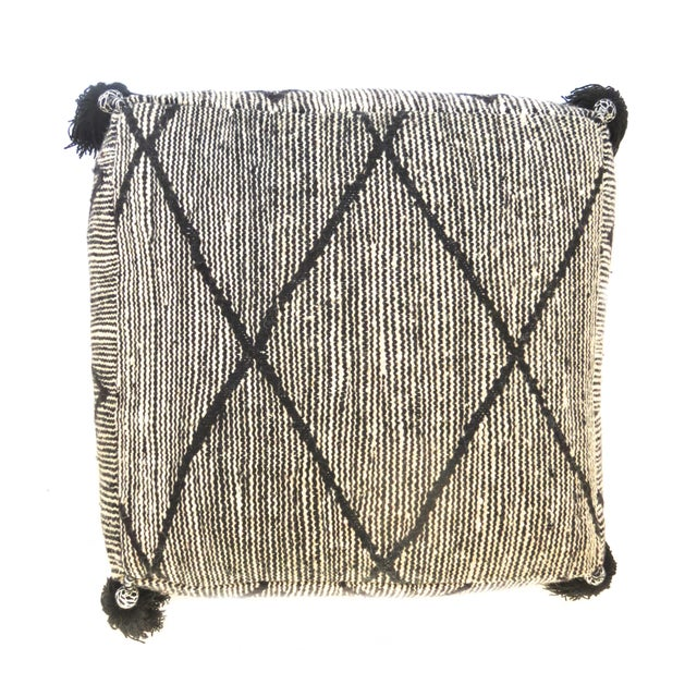 Black Beni Ourain Moroccan Wool Pouf For Sale - Image 4 of 9