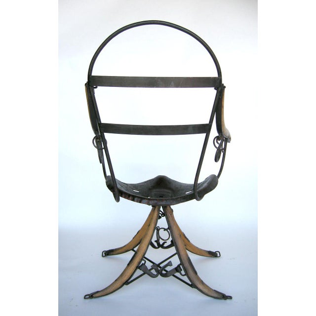 1950s Belgian Tractor Seat Folk Art Chairs For Sale - Image 5 of 11