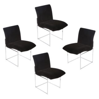 1970's vintage MILO BAUGHMAN CHROME & MOHAIR DINING CHAIRS- set of 4 For Sale