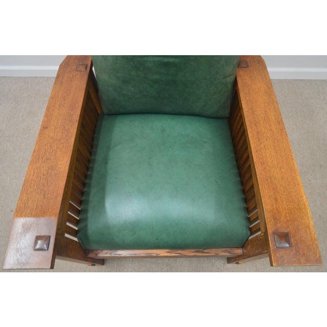 Mission Stickley Oak Morris Chair W/ Ottoman - 2 Pieces For Sale - Image 9 of 13