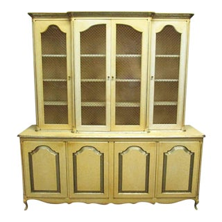 French Provincial Blonde Wood Breakfront China Cabinet For Sale