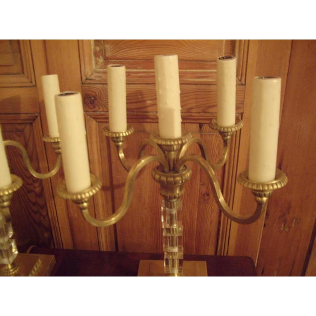 Mid-Century Modern Pair 1930's Brass and Lucite Candelabras For Sale - Image 3 of 8