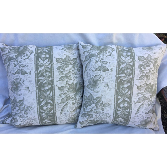 Beautiful Bennison Linen pillows in a beautiful soft Green with Oyster background. Backing is a beautiful 100% Linen...