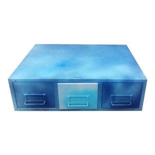 Vintage Blue Industrial File Cabinet