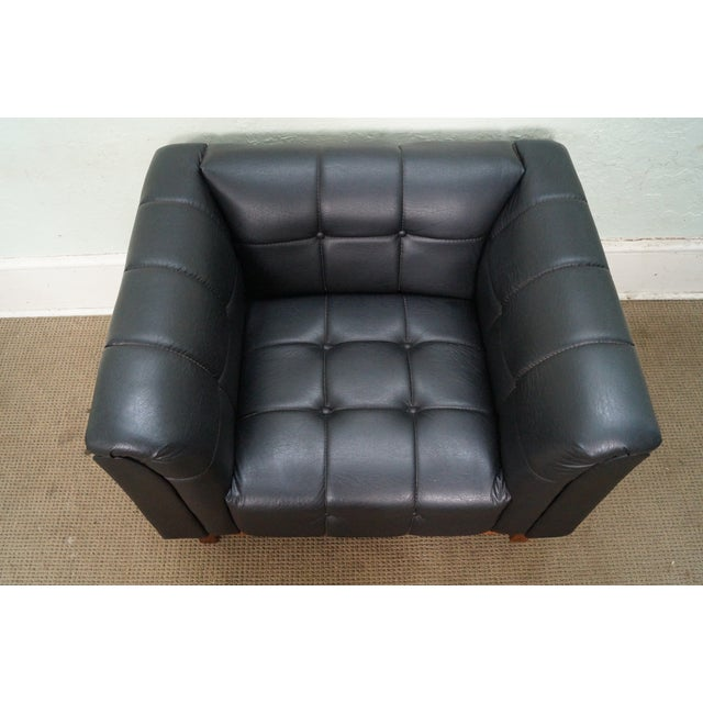 Mid Century Modern Black Faux Leather Tufted Club Chair For Sale - Image 5 of 10