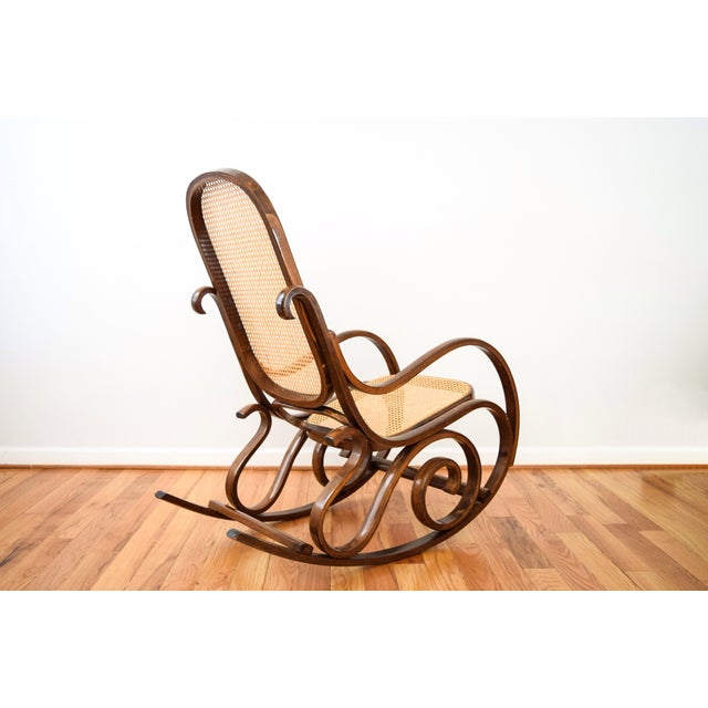 Vintage Thonet Style Bentwood Cane Rocking Chair - Image 4 of 6