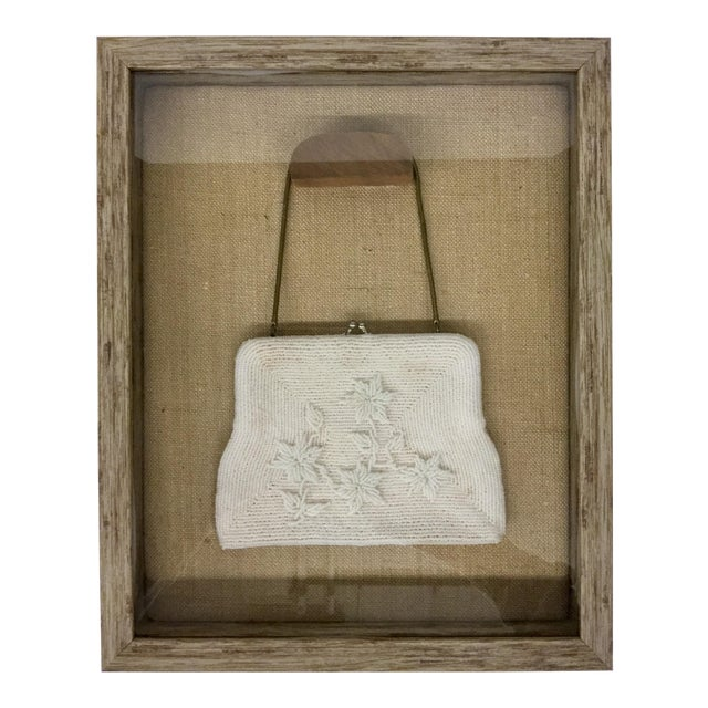 Framed Antique Beaded Purse Shadow Box Art For Sale