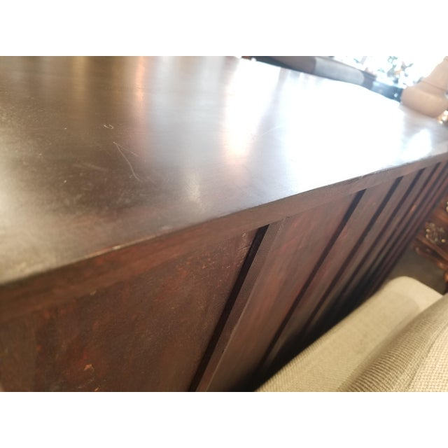 Asian Antique Asian Indian Rustic Heavy Metal Hardware Wood Credenza For Sale - Image 3 of 9