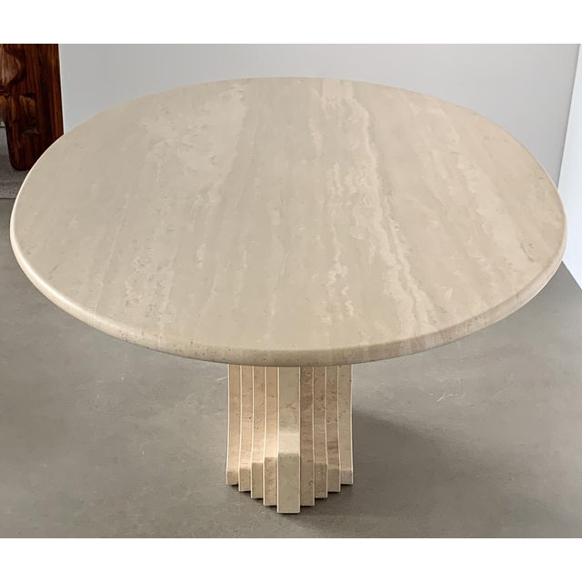 """Carlo Scarpa """"Samo"""" Oval Travertine Pedestal Dining Table For Sale In Chicago - Image 6 of 13"""