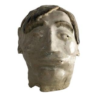 1980s Ceramic Face Sculpture For Sale
