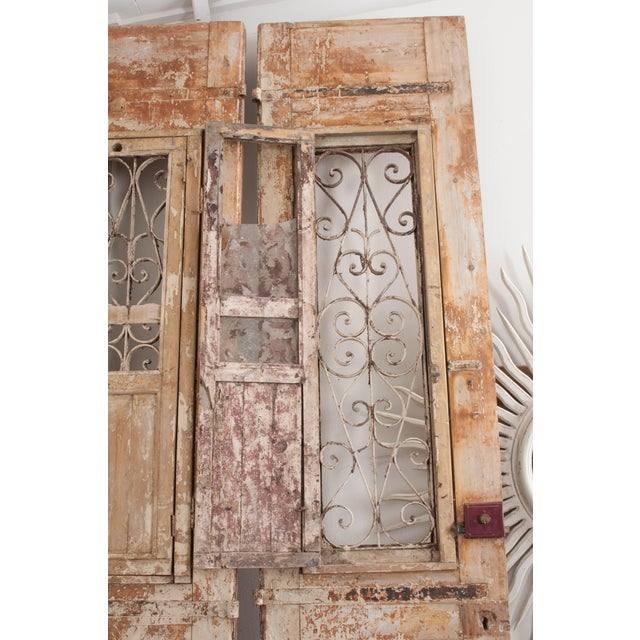 Tall Pair of French Napoleon III-Style Early-20th Century Painted Pine and Wrought-Iron Exterior Entrance Doors For Sale - Image 10 of 11