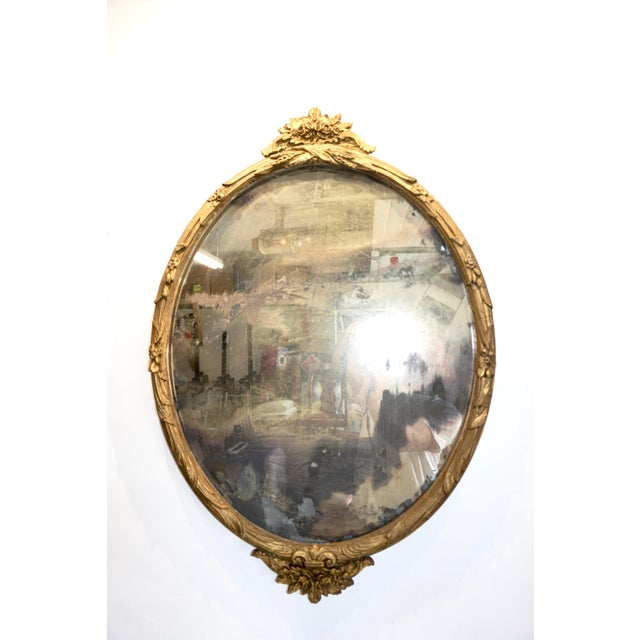 Boho Chic Giltwood Oval Mirror For Sale - Image 9 of 9