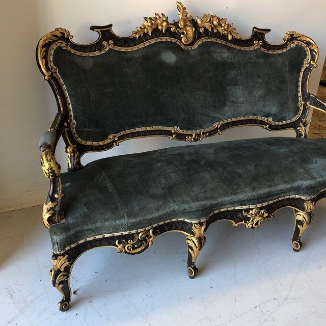 French Ebonized Green Velvet Sofa For Sale - Image 5 of 6