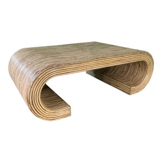 Split Reed Rattan Wrapped Scroll Coffee Table in the Style of Crespi For Sale
