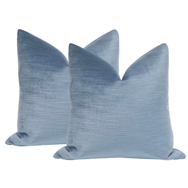 """2010s 22"""" Strie Velvet Chambray Pillows - a Pair For Sale - Image 5 of 5"""