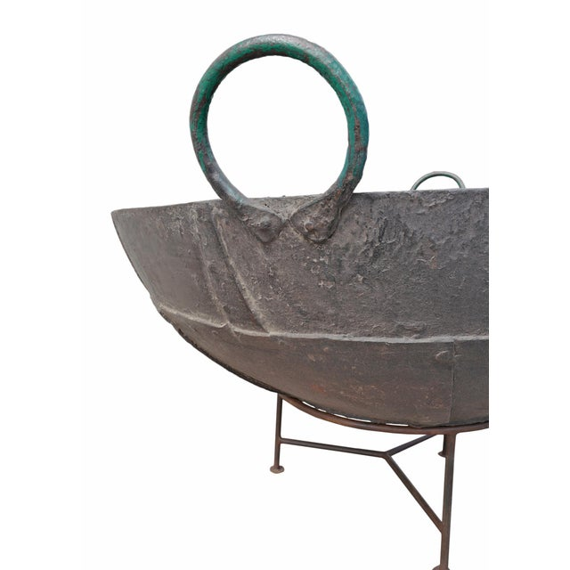 "Rustic Large Iron Kadai Fire Bowl 48"" For Sale - Image 3 of 5"