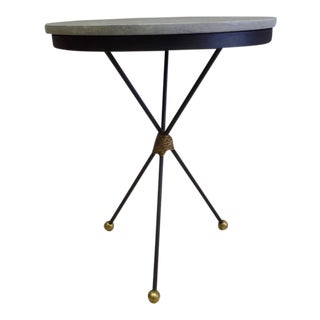 Pair Large French Mid-Century Modern Gilt Iron End Tables, Style of Poillerat