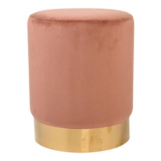 Spruce Mauve Rose Velvet Stool in Rose For Sale