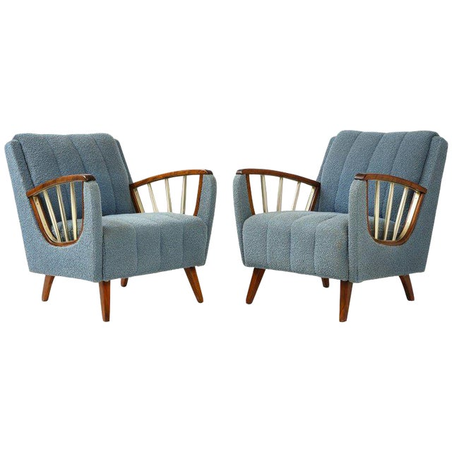 Pair of German 1950's Walnut and Brass Armchairs For Sale