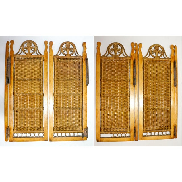 Metal Vintage Mid Century Wicker Shutters- Set of 4 For Sale - Image 7 of 7