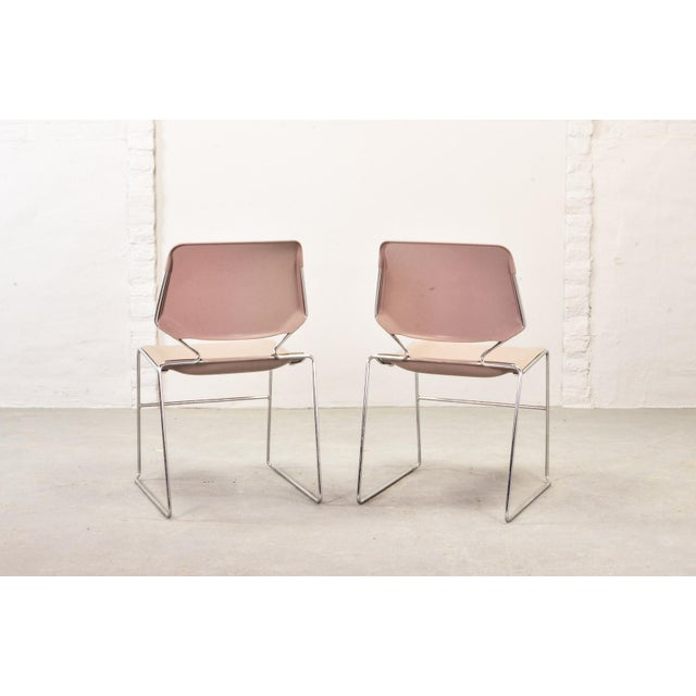 Set of Seven Mid-Century Muted Pink Stackable Dining Chairs by Thomas Tolleson for Matrix Krueger, Usa, 1970s For Sale - Image 4 of 13