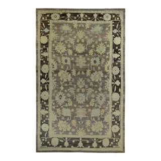 Turkish Oushak Rug With Ivory & Blue Floral Details on Brown Field For Sale