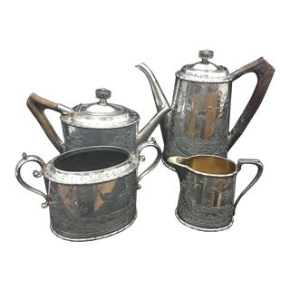 1890 Victorian Silver Plate and Horn English Tea Set by Atkin Brother - Set of 4 For Sale