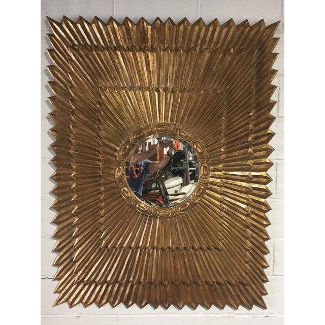 Italian Rectangular Giltwood Sunburst Mirror For Sale - Image 4 of 10