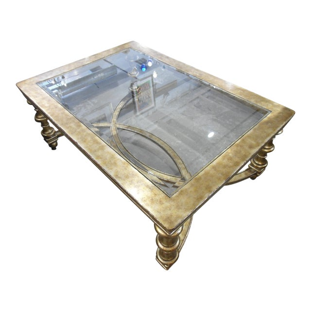 La Barge Gold Wood Framed Glass Top Coffee Table - Image 1 of 7