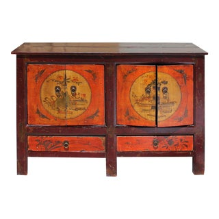Chinese Vintage Brown Orange Flower Graphic Tv Console Cabinet For Sale