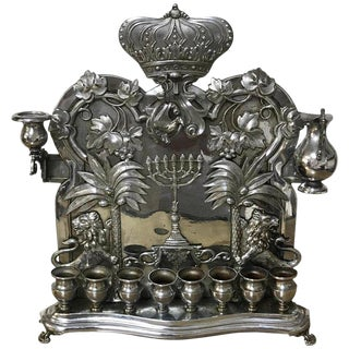 Antique Silver Plated Hannukah Lamp, Complete For Sale