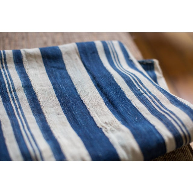 Vintage Hand Woven Indigo Stripe Throw For Sale In New York - Image 6 of 6
